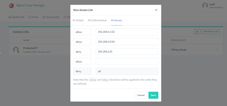 nginx proxy manager access list access based on ip addres