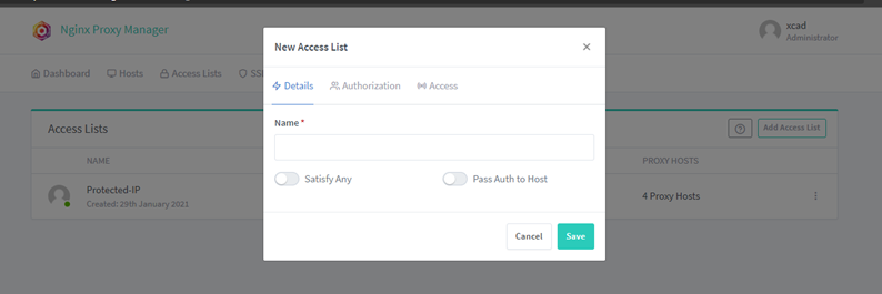 nginx proxy manager create new access list